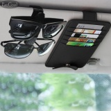 Giá Bán Esogoal Pu Leather Car Sun Visor Organizer Ticket Credit Card Sunglass Storage Holder With Car Glasses Holders Clipper Black Intl Rẻ