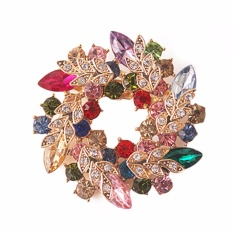 Fancyqube 1 Pcs Women Brooches For Scarf Bling Bling Crystal Rhinestone Gold Plated Chinese Redbud Flower Brooch Pins Jewelry Multicolor - Intl Giá Rẻ Bất Ngờ