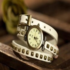 Fashion Cow Leather Watches Women Wristwatches ROMA Rivets Watch Jewelry Bracelet W002 White - intl bán chạy