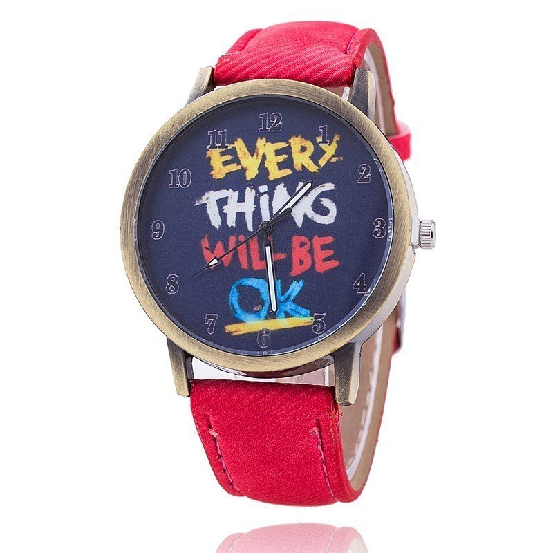Nơi bán Fashion Jeans Quartz Watch Women Cute Cartoon Everything Will Be Ok Watches (Red) - intl