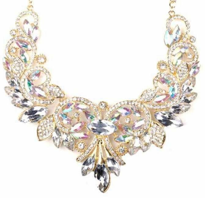 Fashion Rhinestone Crystal Chunky Statement Bib Pendant Chain Choker Necklace White - intl