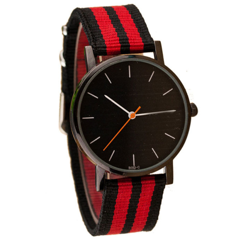 Nơi bán Fashional Unisex Casual Pointer Dial Striped Canvas Band Quartz Wrist Watch Red