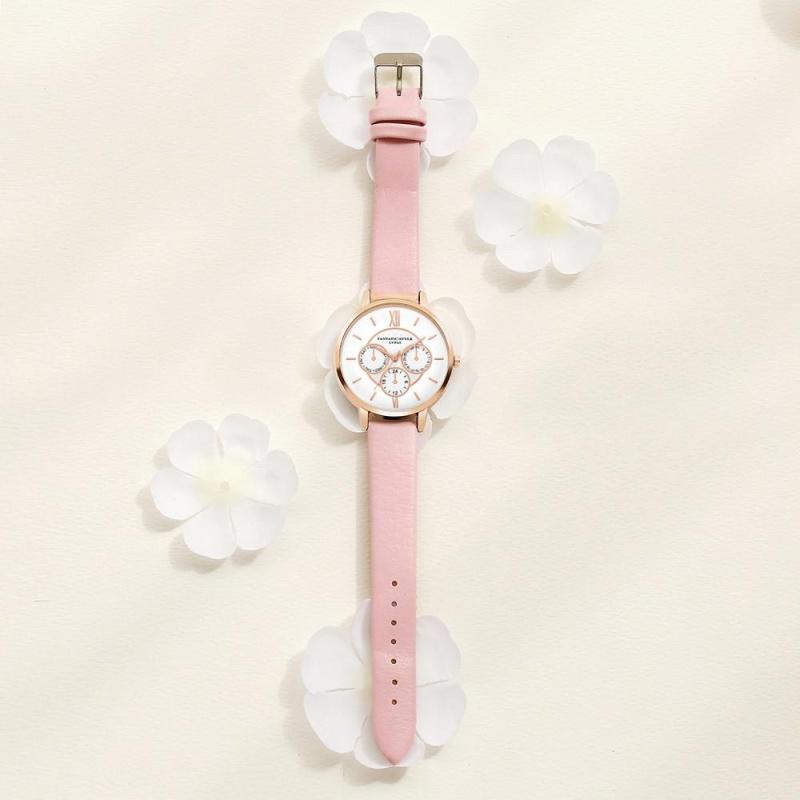 Nơi bán Female Fashion Temperament Leather Belt With Simulated Quartz Round Watch Pink - intl