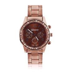 Geneva Bling Crystal Women Girl Unisex Stainless Steel Quartz Wrist Watch Coffee gold - intl bán chạy
