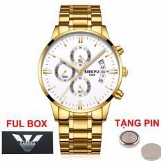 (Giá Cực Rẻ) Đồng hồ nam doanh nhân Nibosi chạy full 6 kim full box - tặng kèm pin đồng hồ