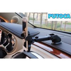 Giá đỡ kẹp điện thoại PUTOCA trên xe hơi, ô tô kéo dài, thu hẹp (Đen)