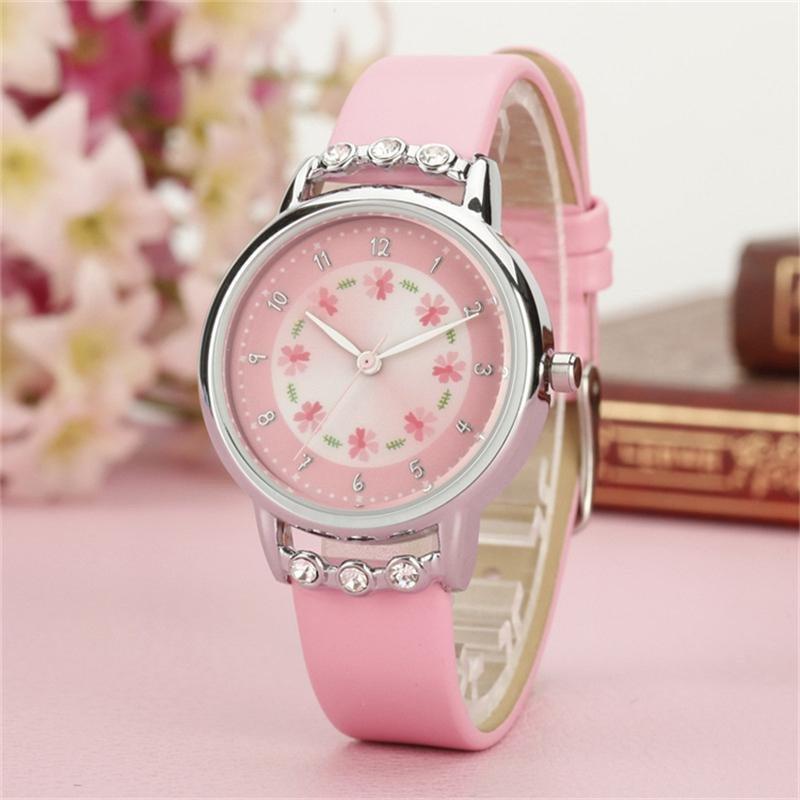 Girls Kids Children Watches Rhinestone Flower Leather strap Wristwatches Student Cartoon Quartz Watch - intl bán chạy