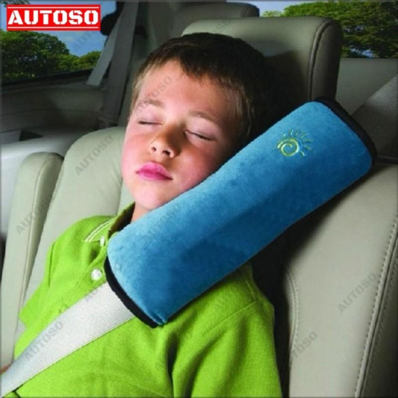 Gối tựa đầu gắn dây an toàn ô tô - XANH, cho trẻ giấc ngủ êm ái trên xe hơi - AUTOSO