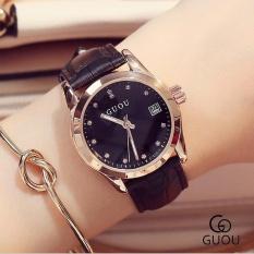 ĐỒNG HỒ GUOU 8076 thời trang Hiện Đại Kim Cương Dây Thanh Lịch Đồng Hồ Nữ Dây Da (Đen)-quốc tế