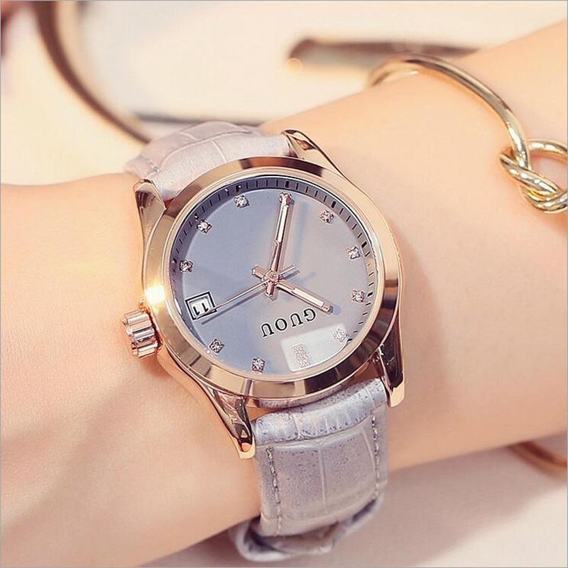 Nơi bán [Hot Sales]GUOU 8076 Fashion Modern Diamond Watch Elegant Leather Ladies Watch (Grey) - intl
