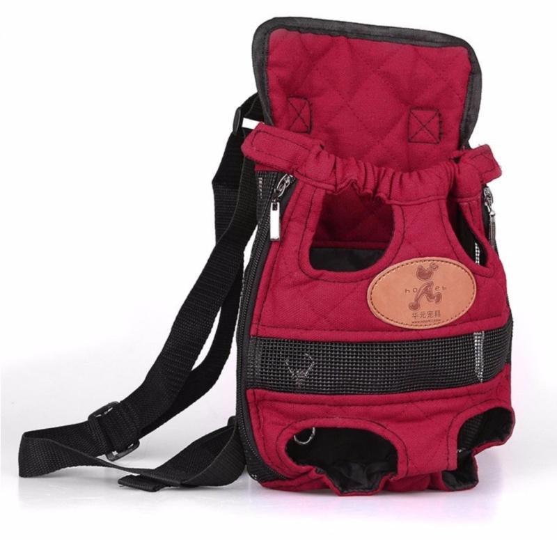 HOOPET Chó tàu sân bay thời trang màu đỏ Du Lịch ba lô bé trai thoáng khí cho thú cưng túi đeo vai thú cưng con chó con tàu sân bay L (Đỏ) -quốc tế