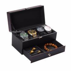 hộp đựng 4 đồng hồ và trang sức 2 tầng, hộp đựng đồng hồ giá rẻ, hộp đựng trang sức, hộp đựng được đồng hồ và trang sức