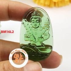 Mặt Dây Chuyền Phật Bản Mệnh Hư Không Tạng Bồ Tát Lưu Ly Xanh Lá Nhỏ