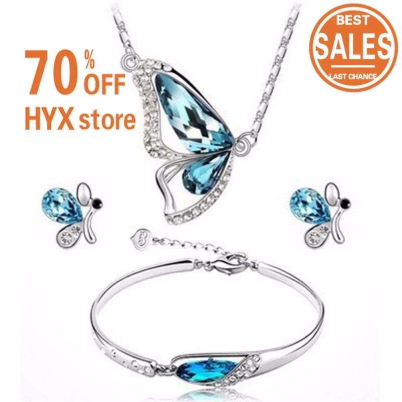 HYX HOT SALE!!!3PC Set Women Rhinestone Butterfly Pendant Choker Necklace Earrings Bracelet Set - intl