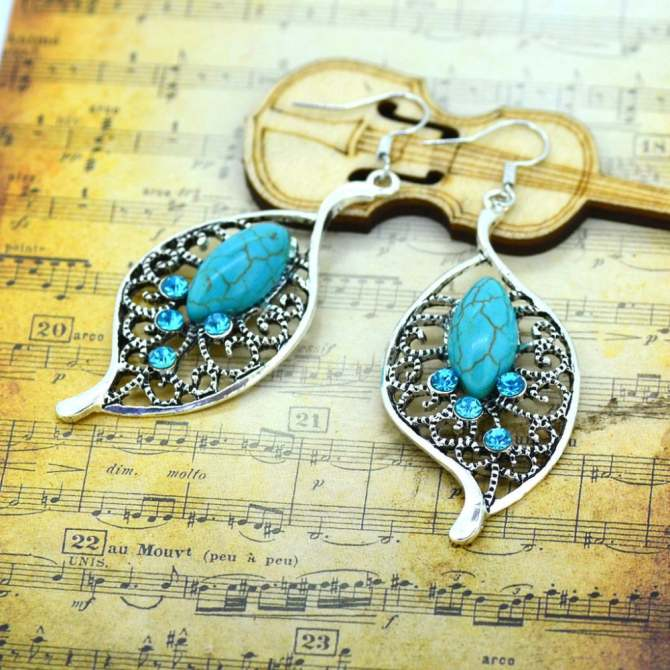 Jiayiqi Hollow Leaves Turquoise Crystal Dangle Earrings - intl