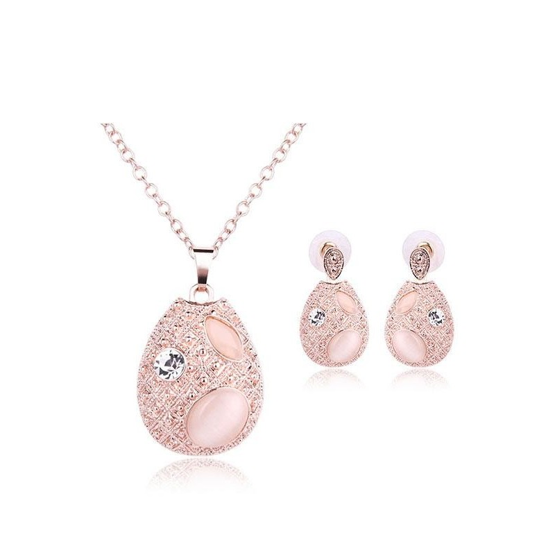 JollyChic Rose Gold Plated Filigree Nice Necklace Earrings Set (Rose Gold) - intl
