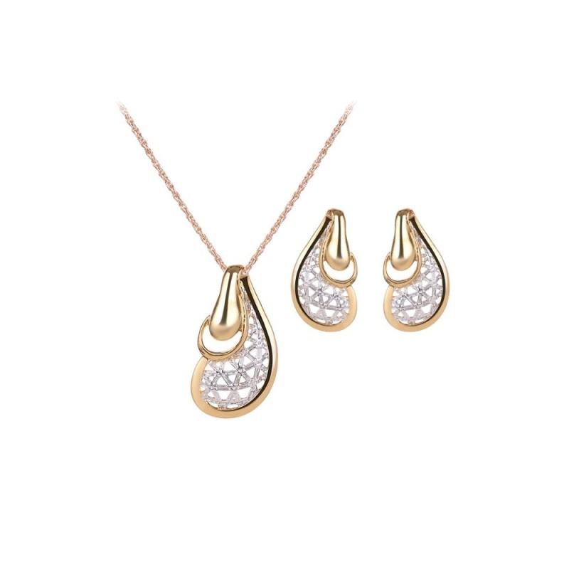 JollyChic Womens Jewelry Set Alloy Hollow Sterling Pea Pattern Ladylike Jewelry Accessory (Gold) - intl