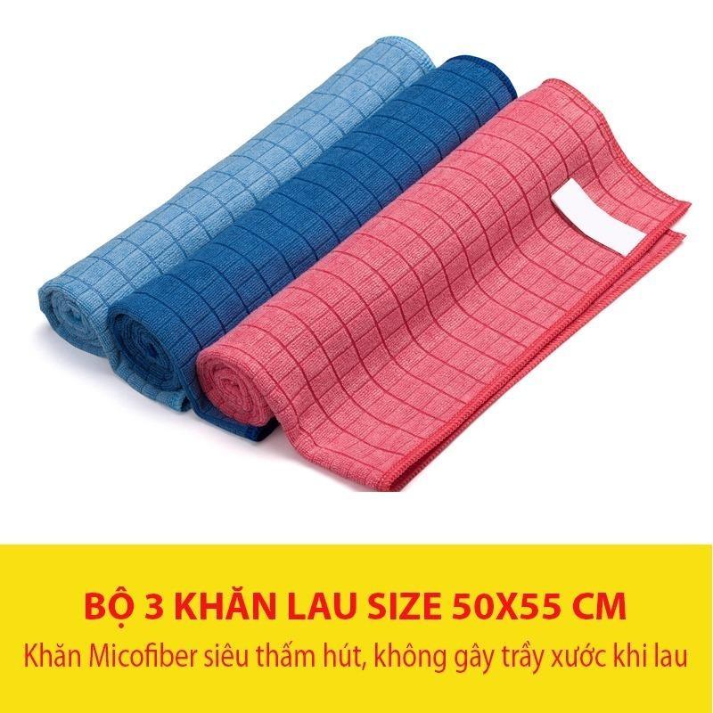 Khan lau xe hoi - Bộ 3 khăn lau Microfiber siêu thấm hút, không làm trầy xước xe