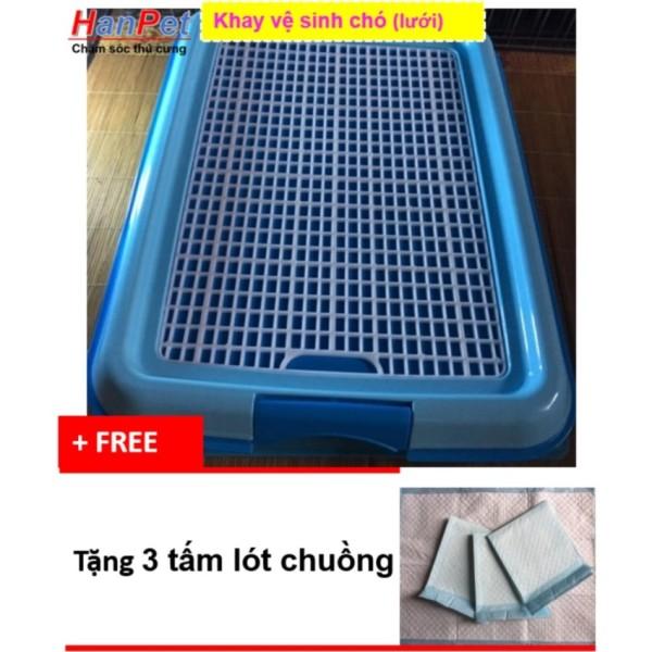 Hanapet-Khay vệ sinh cho chó dạng lưới cải tiến ( 377b)+ Tặng 3 tấm lót chuồng, sàn xe