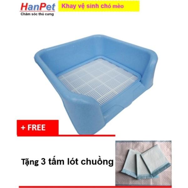 Hanapet-Khay vệ sinh dạng bức tường cho chó đực, bằng nhựa cao cấp, có lưới ( 378) + Tặng 3 tấm tã lót chuồng, sàn