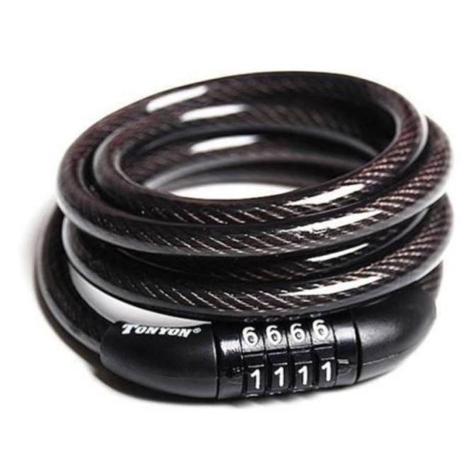 Hình ảnh Khóa dây cáp 4 số cố định 8x1200mm (Đen)
