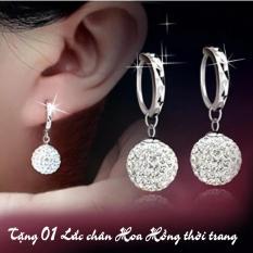 Hình ảnh Khuyên tai bạc mẫu hạt châu đính đá kèm vòng + Tặng 01 lắc chân hoa hồng thời trang