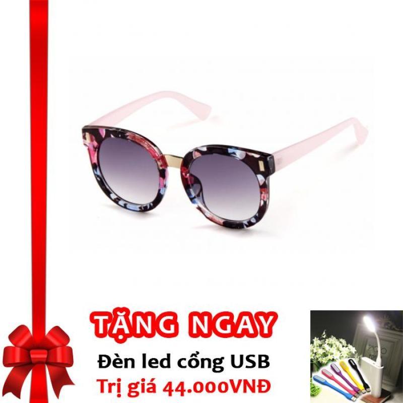 Giá bán Kính Mát Thời Trang chống tia UV Cho Bé Korea Kids F118 (Hồng Hoa) + Tặng đèn LED cổng USB