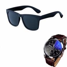 Hình ảnh Kính mát unisex nam (Đen) + Tặng đồng hồ nam thời trang YZL (Nâu)
