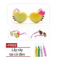 Giá bán Kính mát trẻ em chống UV hình trái tim (Vàng) + Ngoáy tai có đèn cao cấp SYT254