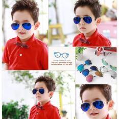 Hình ảnh Kính thời trang phản quang cực chống tia UV siêu đáng yêu cho bé Korea Kids 2017 F171 (Xanh)