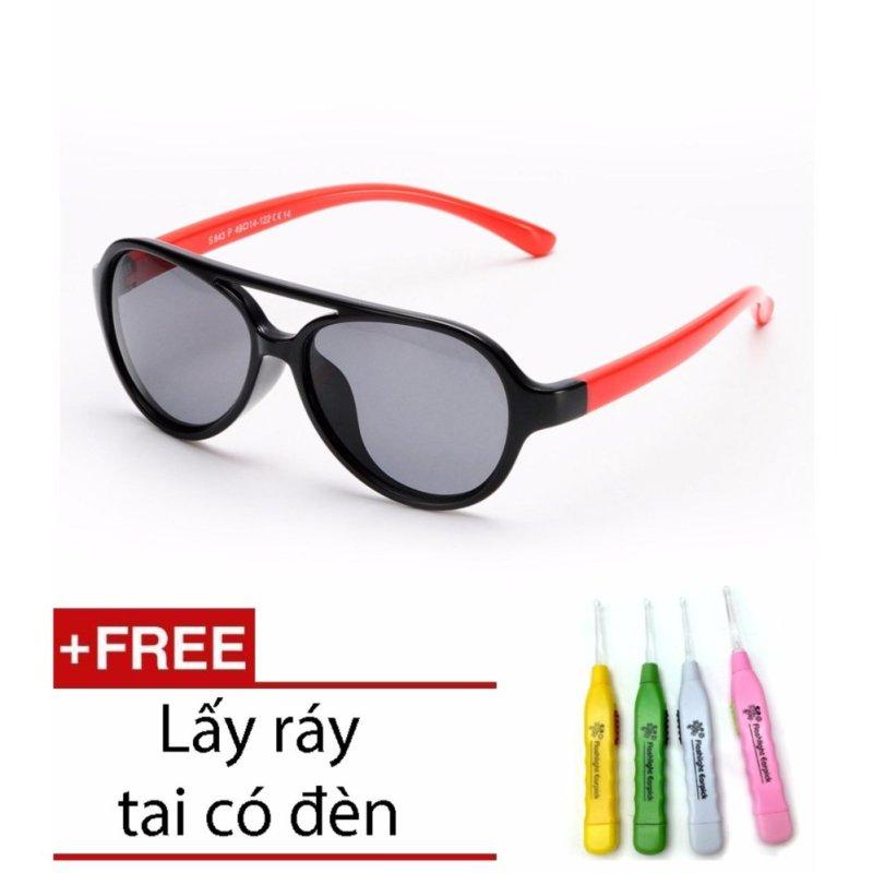 Giá bán Kính trẻ em gọng dẻo mắt chống tia UV (Màu đen phối đỏ) + Ngoáy tai có đèn cao cấp SYT