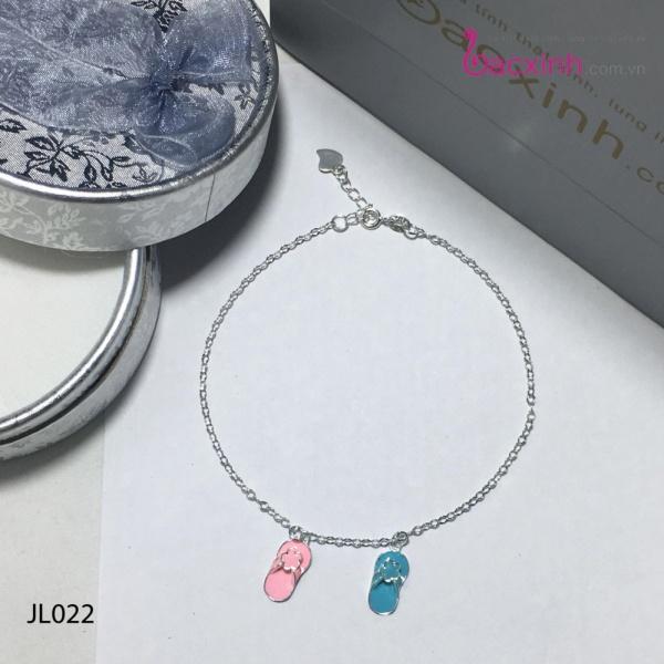 Lắc chân nữ trang sức bạc Ý S925 Bạc Xinh - Đôi dép JL022