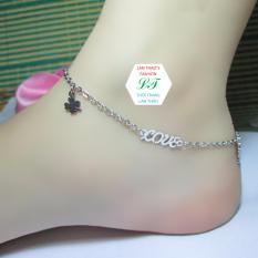 Lắc chân Inox chữ LOVE xinh xắn K ĐEN K RỈ SÉT LC021 (Trắng)
