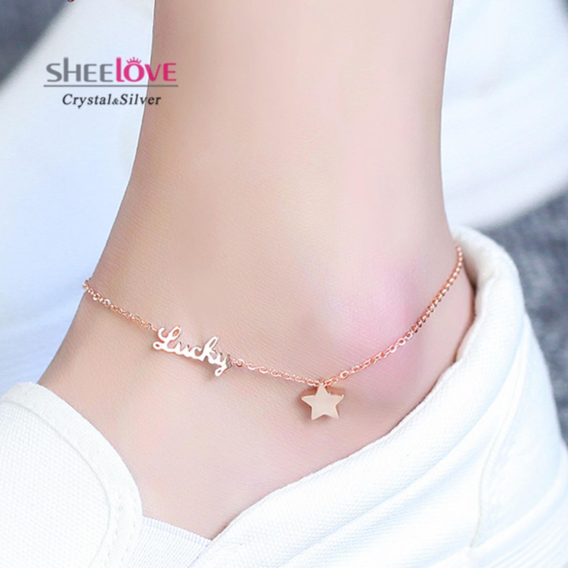 Lắc chân Titan nữ 18KGP ngôi sao Lấp lánh Chất lượng cao cấp Cổ điển Lucky may mắn xinh xắn không dị ứng Không đổi màu Thời trang Phong cách Hàn Quốc Giá tốt TG-2066