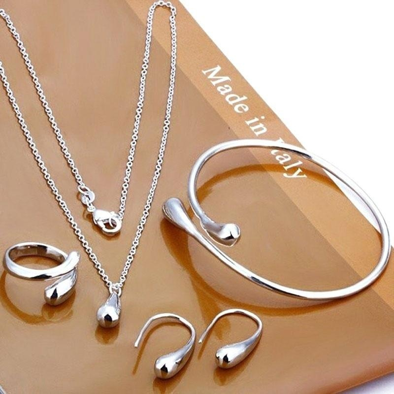 Ladies Water Drop Ear Dangle Earrings Chain Bracelet Pendant Necklace Ring Set - intl