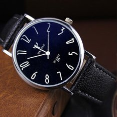 Ôn Tập Leisure Business Lovers Table Leather Belt Waterproof Quartz Watch Black