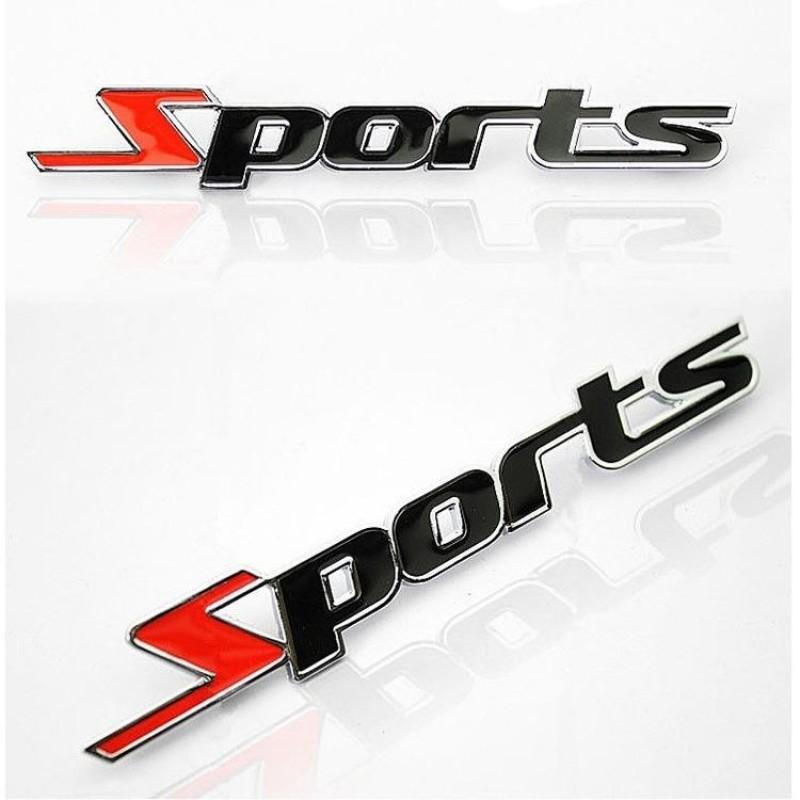 Logo chữ nổi Sports dán xe hơi phong cách thể thao