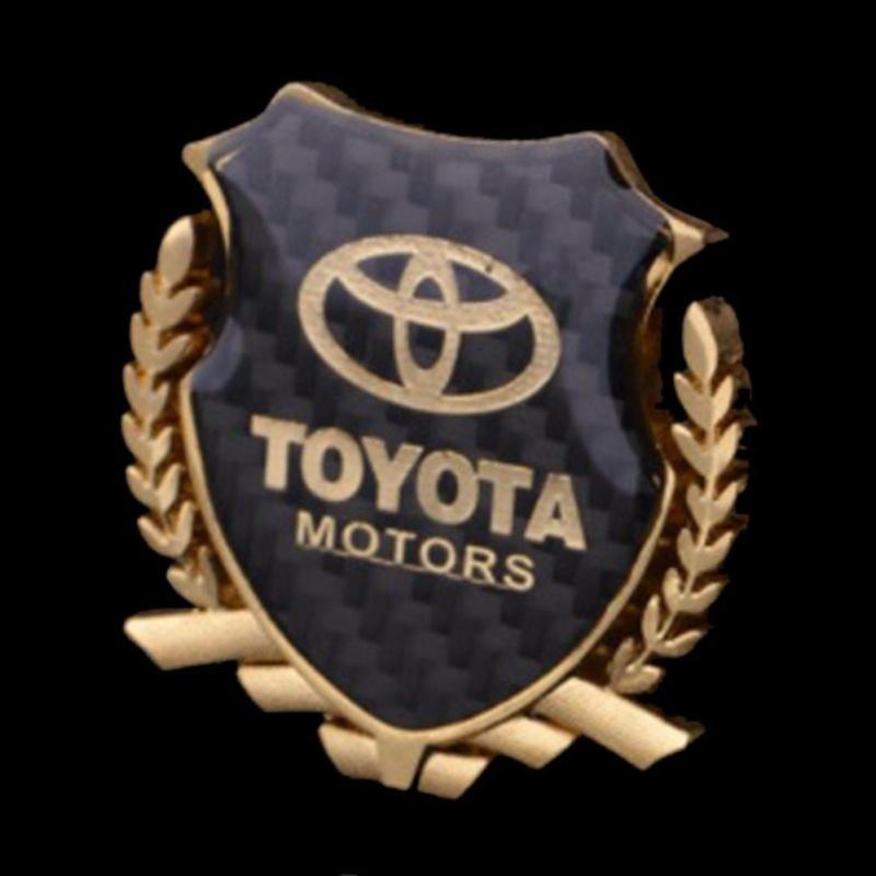 Logo huy hiệu bông lúa mặt vân carbon nổi trang trí ôtô Toyota