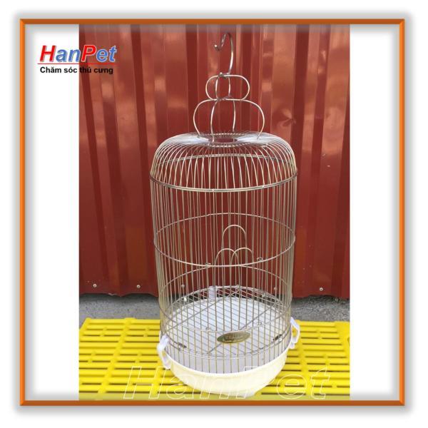 HCM-Lồng chim Inox chống gỉ sét, loại bé dành cho chim khuyên - tặng áo lồng và máng ăn, máng uống - hanpet 601-HP10420TC