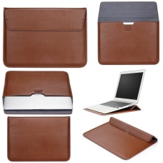 Ôn Tập Tốt Nhất Lyball Case Sleeve With Stand Function For Apple Macbook13 Inch Ultrabook Wallet Sleeve Carry Bag Pu Leather Cover Case Laptop Carrying Bag With Rear Pocket Design For Apple Macbook 13 3 Air 13 Pro13 A1278 Brown Intl