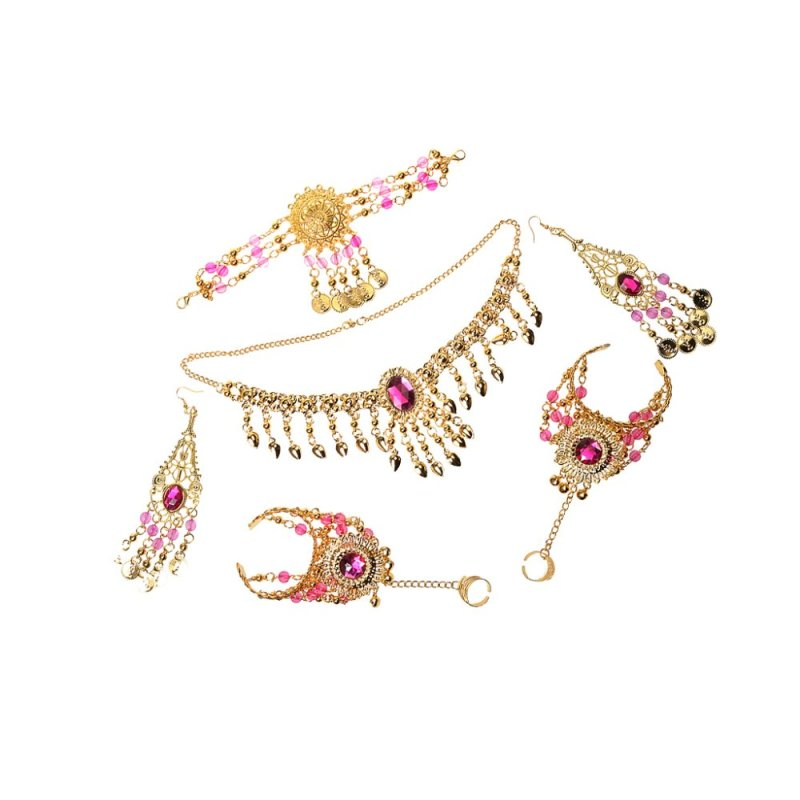 MagiDeal Ladies Bridal Party Costume Necklace Earrings Headpiece Hand Jewelry Set Rose red - intl