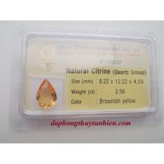 Mặt đá quý Citrine TỰ NHIÊN Giọt nước 8mm x 12mm 56127 Legaxi