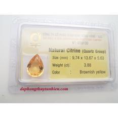 Mặt đá quý Citrine TỰ NHIÊN Giọt nước 9mm x 13mm 56130 Legaxi