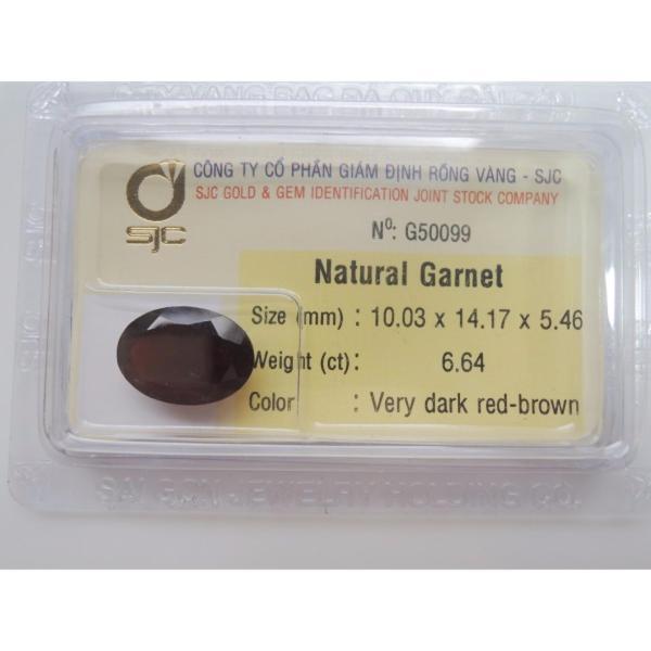 Mặt đá quý Garnet TỰ NHIÊN oval Kiểm định 10mmx14mm 50099 Legaxi