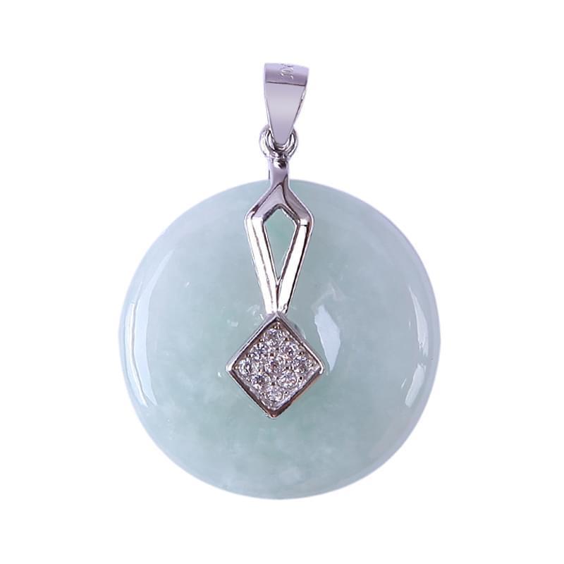 Mặt dây bạc Jadeit (Phỉ Thúy) chạm Đồng điếu