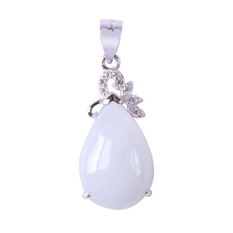 Mặt dây bạc Jadeit (Phỉ Thúy) chạm Giọt nước