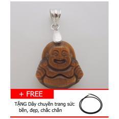 Mặt dây chuyền Đá mắt hổ TỰ NHIÊN hình Phật di lặc TG04