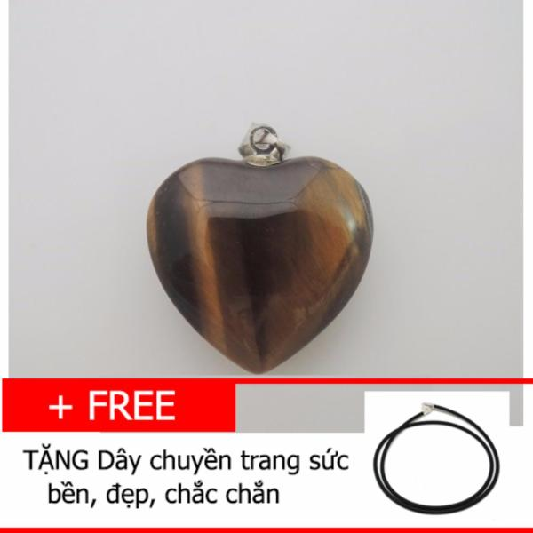 Mặt dây chuyền Đá mắt hổ TỰ NHIÊN hình trái tim TG02
