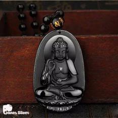 Cửa Hàng Bán Mặt Day Chuyền Phật A Di Đa Chất Liệu Đa Obsidian Phong Thủy Thương Hiệu Ganes Silver