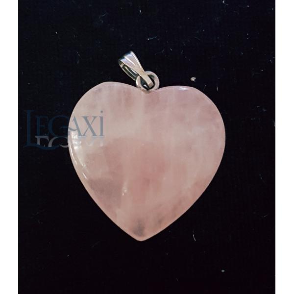 Mặt dây chuyền thạch anh Hồng tự nhiên trái tim RQA1
